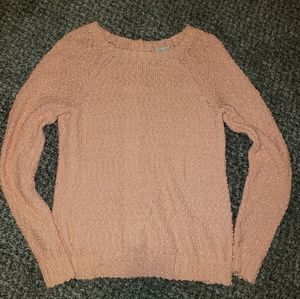 Gorgeous Hinge Peach Crew Neck Button Back Sweater